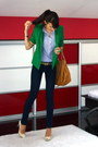 Green-zara-blazer-teal-zara-shirt-tawny-michael-kors-bag