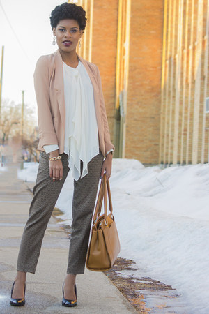 Lauren Conrad blazer - Jennifer Lopez blouse - Joe Fresh pants