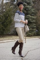 Joe Fresh Long-Sleeve Striped Lace Top sweater