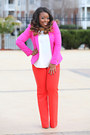 Hot-pink-zara-blazer-white-zara-shirt-carrot-orange-ann-taylor-pants