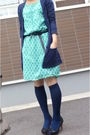 Blue-topshop-cardigan-green-dress-blue-socks-black-shoes
