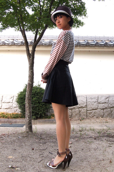 black leather skirt - dark brown hat - brown striped chinti and parker t-shirt