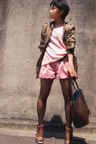 army green military Zara coat - light pink Theory sweater