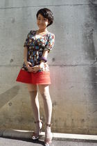 brown max&co top - orange H&M skirt - brown shoes - beige