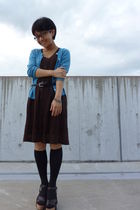 blue cardigan - brown dress - black belt - black - bracelet