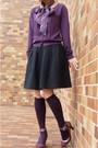 Purple-laura-ashley-scarf-purple-anayi-cardigan-black-jillstuart-skirt-bla