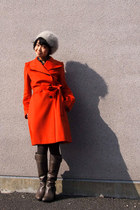 heather gray boots - carrot orange from japan coat - off white beret hat