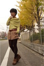 Light-yellow-icb-sweater-red-icb-belt-camel-natural-beauty-basic-shorts-br