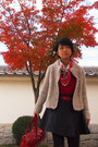 Red-hermes-scarf-cream-knitted-jacket-ruby-red-from-japan-sweater