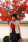 Cream-knitted-jacket-ruby-red-from-japan-sweater-red-hermes-scarf