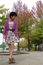 pink Gap cardigan - Topshop dress - brown esperanza from japan shoes