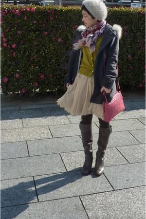 gray coat - gray boots - floral scarf - bubble gum bag