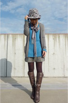 heather gray Natural Beauty Basic hat - heather gray Jcrew cardigan - sky blue G