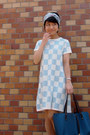 Light-blue-checkered-asos-dress-sky-blue-hermes-scarf-teal-tiffany-co-bag