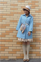camel shoes - sky blue trench coat - bronze hat - camel scarf - lime green socks
