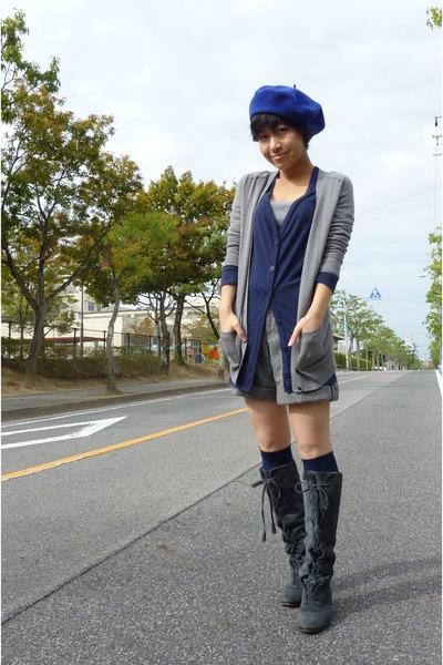 blue Topshop cardigan - gray JCrew cardigan - gray shorts - blue socks