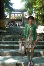 Topshop dress - green cardigan - gray shoes - silver purse
