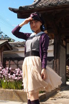 ivory Tomorrowland skirt - purple scarf - light blue collar accessories