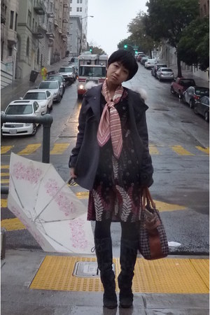 gray coat - gray boots - black dress - pink DKNY scarf