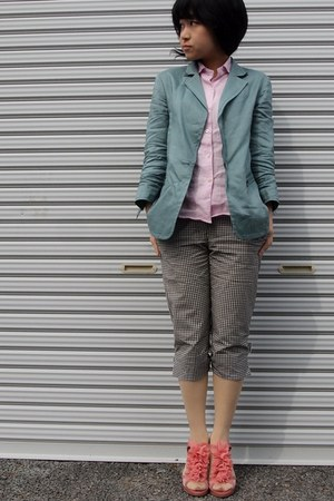 light pink hemp shirt - light blue hemp blazer - dark gray gingham pants