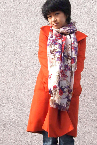 orange from japan coat - eggshell floral scarf - navy jeans Diesel pants