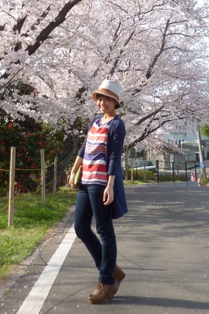 jeans - white from japan hat - navy Topshop cardigan - red striped Zara top - li