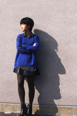 blue Gap sweater - black Nine West boots - dark gray Uniqlo tights