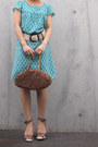 Turquoise-blue-polka-dots-from-japan-dress-bronze-anteprima-bag-beige-belt