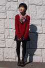 Light-brown-cavacava-shoes-red-mimi-roger-sweater-black-uniqlo-tights