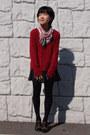 Light-brown-cavacava-shoes-red-mimi-roger-sweater-black-uniqlo-tights
