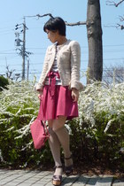 eggshell tweed ANAYI jacket - pink bag - beige socks - pink skirt - white stripe