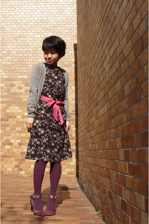 black Tocca dress - salmon - heather gray JCrew cardigan - magenta tights - mage