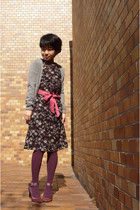 black floral Tocca dress - magenta shoes - magenta tights - salmon tied as a bow