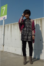 magenta ICB scarf - gray boots - gray tunic dress - black Uniqlo pants