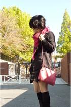 pink Bottega Veneta purse - gray Topshop cardigan - shorts - black socks - black