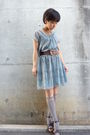 Gray-dress-gray-socks-brown-belt-brown-shoes-necklace