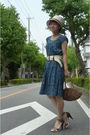 Blue-dress-gold-anteprima-purse-brown-hat-brown-shoes-belt