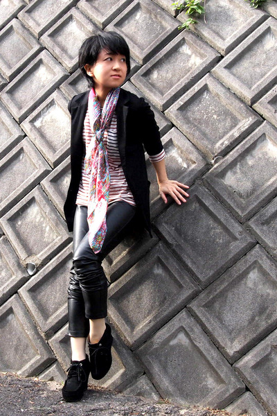 TsumoriChisato shoes - Uniqlo blazer - chiffon Chanel scarf