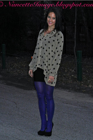blue peacock Mod Cloth tights - black BCBG skirt - tan polka dot Mink Pink top