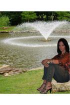 tawny Anthropologie top - army green born pants - beige Michael Kors heels