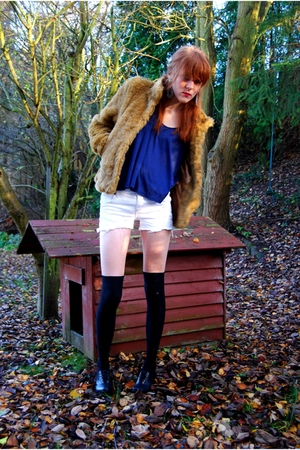 beige h&m divided coat - blue Topshop top - silver DIY Sparkz shorts - DIY H&M s