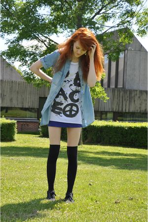 blue Zara shirt - white BikBok top - blue H&M skirt - black H&M socks - black h&