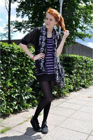 black H&M Divided exclusive cardigan - black GINA TRICOT scarf - purple h&m divi