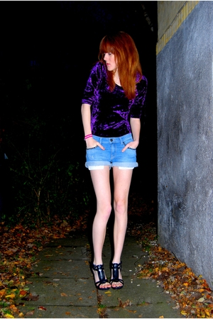 purple BikBok dress - blue Zara shorts - black Bianco Footwear shoes