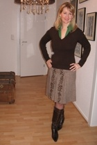 brown Topshop skirt - brown Zara sweater - green Zara blouse