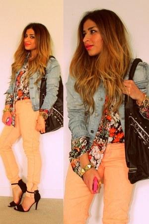 peach pastel Forever 21 jeans - blue denim jacket H&M jacket