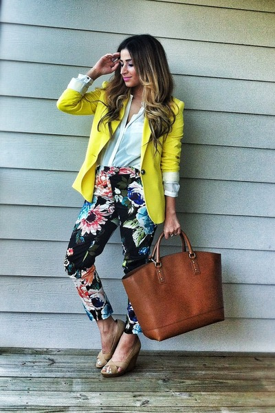 yellow Zara blazer - brown Zara bag - black floral pants H&M pants