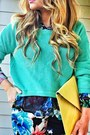 Black-floral-print-h-m-blouse-aquamarine-mint-asymmetric-forever-21-sweater