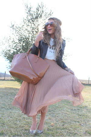 tan Zara skirt - brown Zara bag - ivory Celine t-shirt
