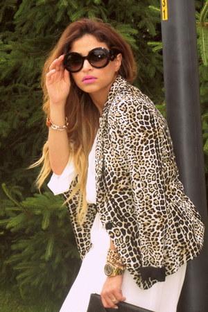 leopard print Zara blazer - Zara shirt - Zara pants